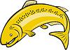 Векторный клипарт: Форель Радужная Рыба Прыжки Мультяшный