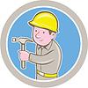 Векторный клипарт: Карпентер Builder Молот Круг Мультяшный