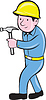 Carpenter Builder Hammer Gehen Cartoon