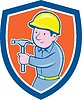 Carpenter Builder Hammer-Schild Cartoon