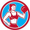 Personal Trainer Weiblich Lifting Hantel Kreis
