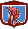 Huhn Hahn-Kopf Seitenansicht Schild Retro