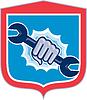 Mechanic Hand Holding Schlüssel Schild Stanzen