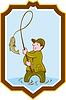 Fliegen-Fischer Fish On Reel Schild Cartoon