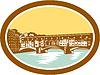 Векторный клипарт: Арки моста Понте Веккьо Флоренция Woodcut