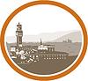 Векторный клипарт: Башня Палаццо Веккьо Флоренция гравюра на дереве