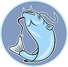 Векторный клипарт: Сом Jumping Круг Мультяшный