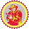 Векторный клипарт: Пожарный Пожарный Стремясь пожарный шланг Rosette