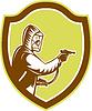 Векторный клипарт: Борьба с вредителями Истребитель Опрыскивание Щит Ретро
