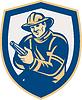Векторный клипарт: Пожарный Пожарный Стремясь пожарный шланг Shield Retro