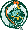 Векторный клипарт: Пожарный Пожарный складной Arms Круг Ретро