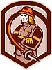 Векторный клипарт: Пожарный Пожарный складной Arms Щит Ретро