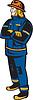 Векторный клипарт: Пожарный Пожарный складной Arms Ретро