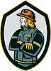 Векторный клипарт: Пожарный Пожарный сложив руки на груди щит Ретро