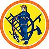 Векторный клипарт: Пожарный Пожарный Пожарный шланг Лестница Круг
