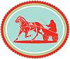 Векторный клипарт: Лошадь и жокей Harness Гонки Розетка Ретро