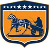 Векторный клипарт: Лошадь и жокей Harness Гонки Щит Ретро