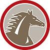 Векторный клипарт: Лошадь главы Злой Круг Ретро