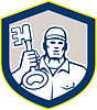 Векторный клипарт: Слесарь Carry Key Shield Retro