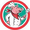 Векторный клипарт: Свинья Шеф-повар Холдинг Шпатель Круг Мультяшный