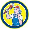 Векторный клипарт: Водопроводчик гаечный ключ Телефон Круг Мультяшный