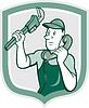 Векторный клипарт: Водопроводчик гаечный ключ Телефон Щит Мультяшный