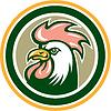 Векторный клипарт: Курица Петух Глава талисман Круг Ретро
