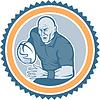 Векторный клипарт: Регби игрок работает мяча Розетка мультяшный