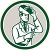 Векторный клипарт: Ученый Лаборатория научный Сварщик Круг Ретро
