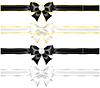 Weiß und schwarzen Schleifen mit Diamanten und Goldrand