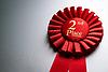 2. Platz Gewinner Rosette oder Abzeichen in Rot | Stock Foto