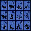 Zwölf schwarze Silhouetten der Tierkreiszeichen