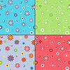 Cztery bez szwu desenie z kwiatów rumianku | Stock Vector Graphics