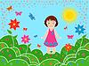 Kleine Mädchen auf Wiesen im sonnigen Sommertag