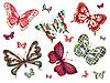 Sechs verschiedene Schmetterlinge mit Celtic Ornament