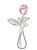 Stylizowane czerwona róża w wazonie | Stock Vector Graphics