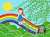 Маленькая девочка на радуге в солнечный летний день