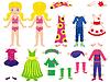 Papier-Puppe und Kleidung für sie eingestellt