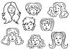 Set von acht Frauen Kontur Cartoon Gesichter
