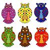 Zestaw sześciu stylizowane sowy | Stock Vector Graphics