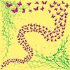 Векторный клипарт: Лот из бабочек на фоне цветочные