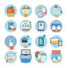 Geschäfts-, Büro-und Marketing-Positionen Icons