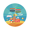 Icons Set von Reisen und planen Sommerurlaub