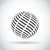 Abstrakter Strudelkugel Globus-Symbol