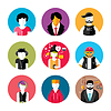 Векторный клипарт: Набор стильных аватаров мужчина и женщина икон