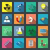 Wissenschaft Flach Symbole Set