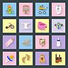 Baby-und Kinder-Flach Symbole Set