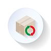 Box z recyklingu ikonę strzałki płaskiej | Stock Vector Graphics