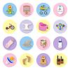 Niemowląt i dzieci zestaw ikon płaskie | Stock Vector Graphics