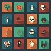 Halloween Flach Symbole Set